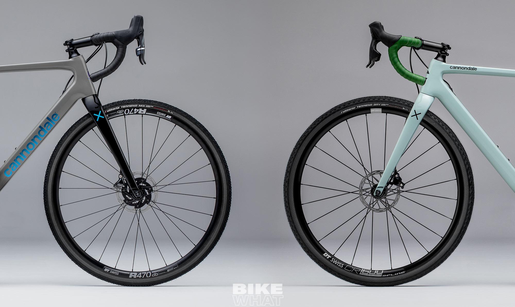 캐논데일이 슈퍼식스 에보를 기반으로 한 사이클로크로스 자전거인 슈퍼식스 에보 CX(왼쪽)와 그래블 자전거인 슈퍼식스 에보 SE(오른쪽)를 공개했다.